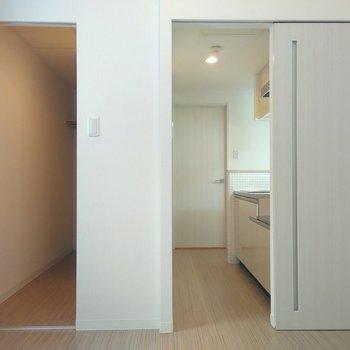 洋室にある2個のドアは、それぞれクローゼットとキッチンにつながるよ
