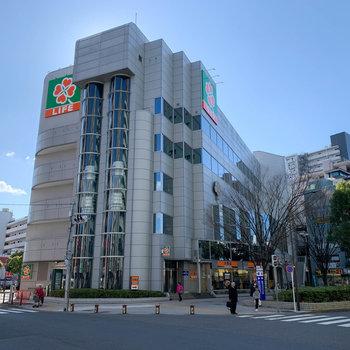 最寄りの篠崎駅。駅直結でスーパーが入っています。