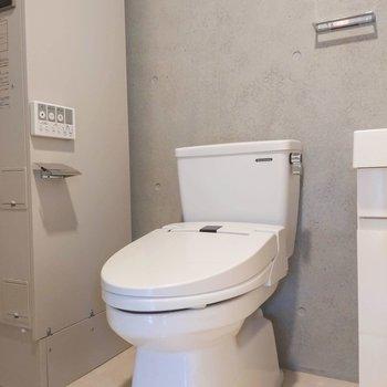 洗面台のすぐ横にトイレがあります。