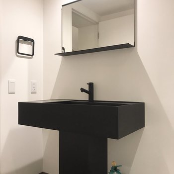 洗面台は黒色でスタイリッシュ