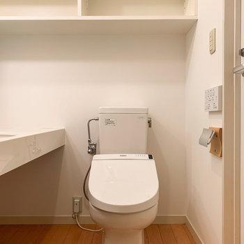 トイレは嬉しい温水洗浄機付き。ペーパーホルダーにもさりげなく木材が使われています。