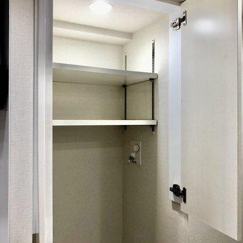 洗濯機の上には洗剤などを収納できる棚がありますね※写真は5階の同間取り別部屋のものです