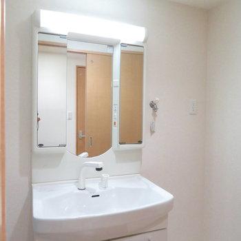 収納たっぷりの洗面台(※写真は4階の同間取り別部屋のものです)