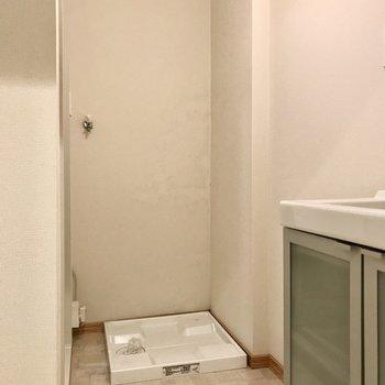 扉を開けると奥には洗濯機置き場