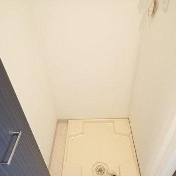 洗濯機は廊下に。扉で隠せます。