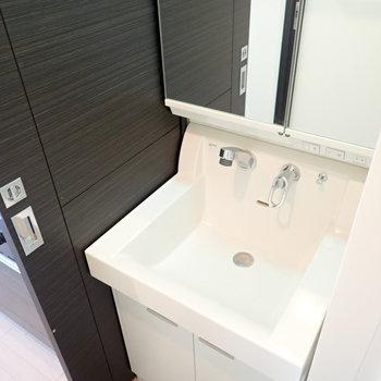 洗面台は脱衣所に。お風呂上りにいろいろできます。