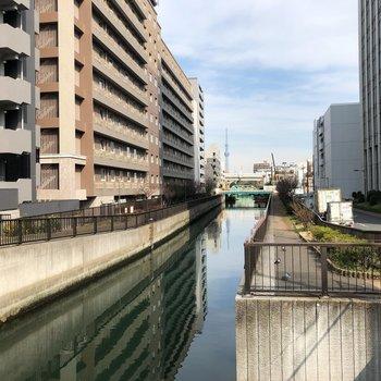近くには川が流れています。