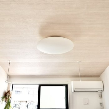 【ディテール】天井は木目調のアーチ型。