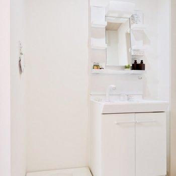 シンプルな洗面台と洗濯機置き場。