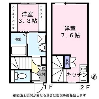 メリハリをつけやすいメゾネットタイプのお部屋です。