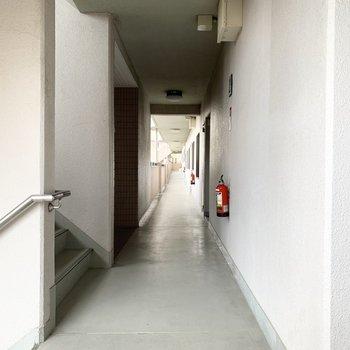 ズドンと長い共用廊下。