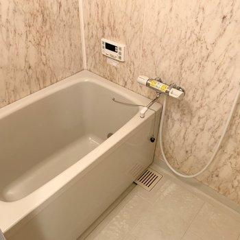 浴室は石調の空間。