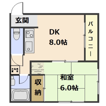 1DKの間取り。カラー畳の和室も見ものですよ。