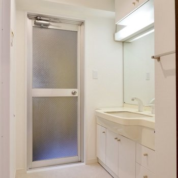 脱衣所。奥の扉はちょっとしたベランダに続いています。