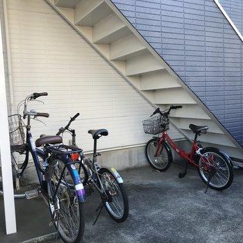 1階には駐輪スペースがありました。