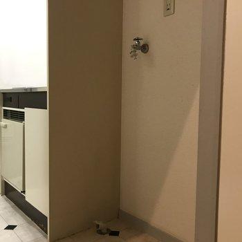 キッチン横に洗濯機置場がありました。