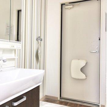 洗面台と洗濯機置き場の向こう側…気になる。