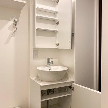 オシャレなボウル型の洗面台。収納・コンセントもあるので朝の支度はこちらで済みそうです。※写真は前回募集時のものです