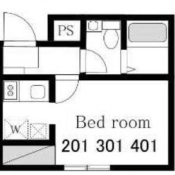 メイン空間は他設備と共有なく独立 ※写真は別室(301号室)