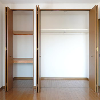 押入れとクローゼットもあり、収納もこの部屋だけで完結しそう。