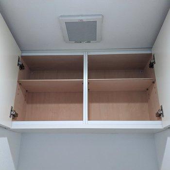 トイレ上には棚があります。トイレットペーパーや掃除道具を入れるといいですね。