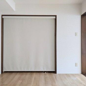 【6帖洋室】カーテンで収納は閉じることができます。