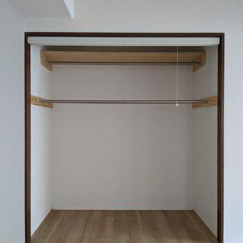 【6帖洋室】収納は大きめ。ハンガー掛けが2箇所にあります。