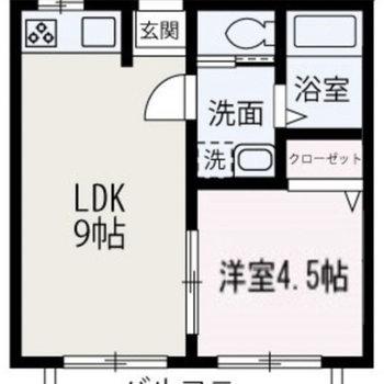 間取りはシンプルな1LDKのお部屋。