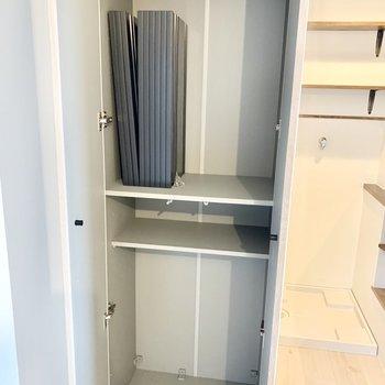 姿見付きの扉を開けると、可動棚のシューズボックスです。