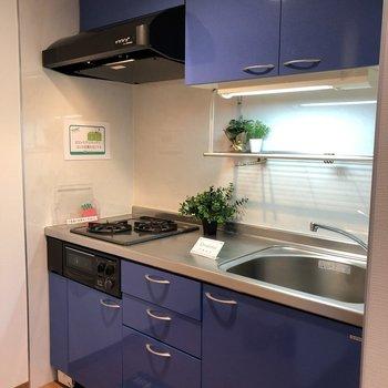 キッチンは大人っぽい色合いですね。