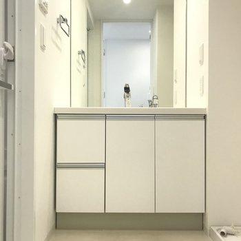 大きな洗面台は身支度しやすい♪(※写真は8階の反転間取り別部屋のものです)