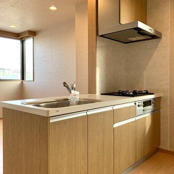 【LDK】キッチンは調理器具がたっぷり入りそう。