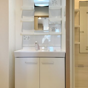 洗面台は収納ポケット付き。朝の身支度もしやすいです。