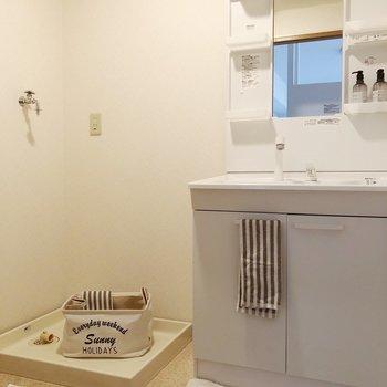 脱衣所には大きな洗面台があり、収納棚も充実ですね。(※家具・雑貨はサンプルです)