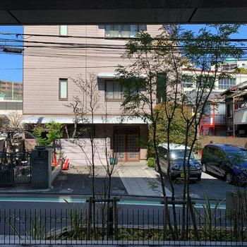 眺望はフェンス越しに道路です。