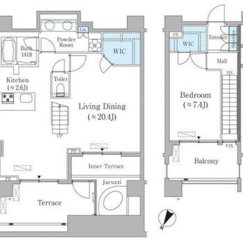 地下一階がリビング。一階がベッドルームになっています。
