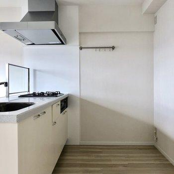 さて、この広々キッチン。冷蔵庫や棚は後ろに置けるし、奥の壁にはタオルなどかけれそう。
