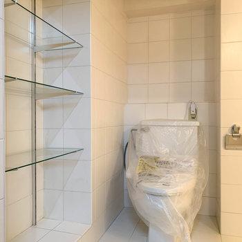お風呂の扉、開けるとまずはトイレとガラスの棚。