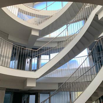 吹き抜けの、階段のデザイン性。