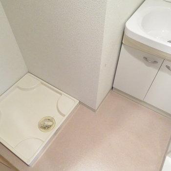 洗面脱衣所もあります(※写真は3階の反転間取り別部屋のものです)