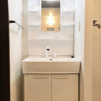 洗面台は清潔感もあってゆったりと。(※写真は3階の同間取り別部屋のものです)