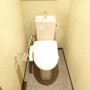 トイレはウォシュレットつき!上にはペーパー置き場もあります。