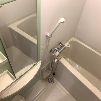 大きな鏡とシャンプーを置ける棚が備え付けてあります!(※写真は3階の反転間取り別部屋のものです)