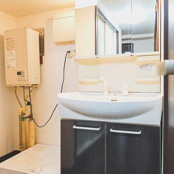 鏡の大きな洗面台。左には洗濯パン。