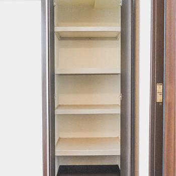右側には棚収納付き。小物類をしまうならココかな。