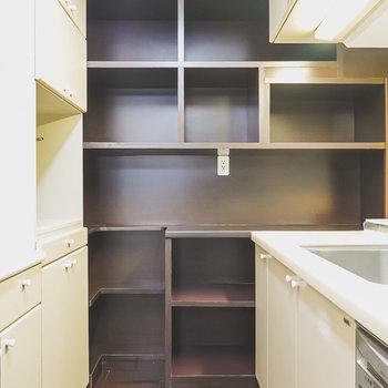 奥には収納棚。レンジや見せたいお皿などはここに収納。