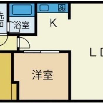 ゆとりのある造りの1LDKのお部屋です。