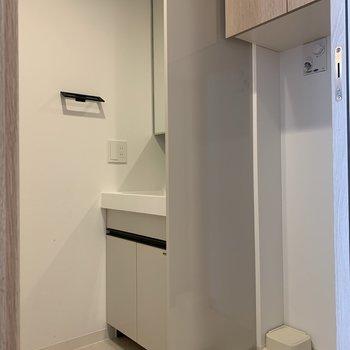 サニタリールームに横並びで洗面台と洗濯機置き場です。