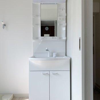 右側に独立洗面台がありますよ。