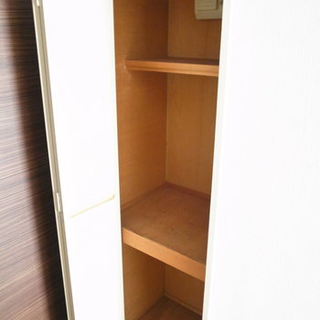 備えつけのシューズボックス…クローゼット?靴の収納にはちょっと物足らない棚数です。